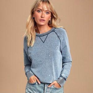 Z Supply Atila The Knit Denim Bleach Pullover